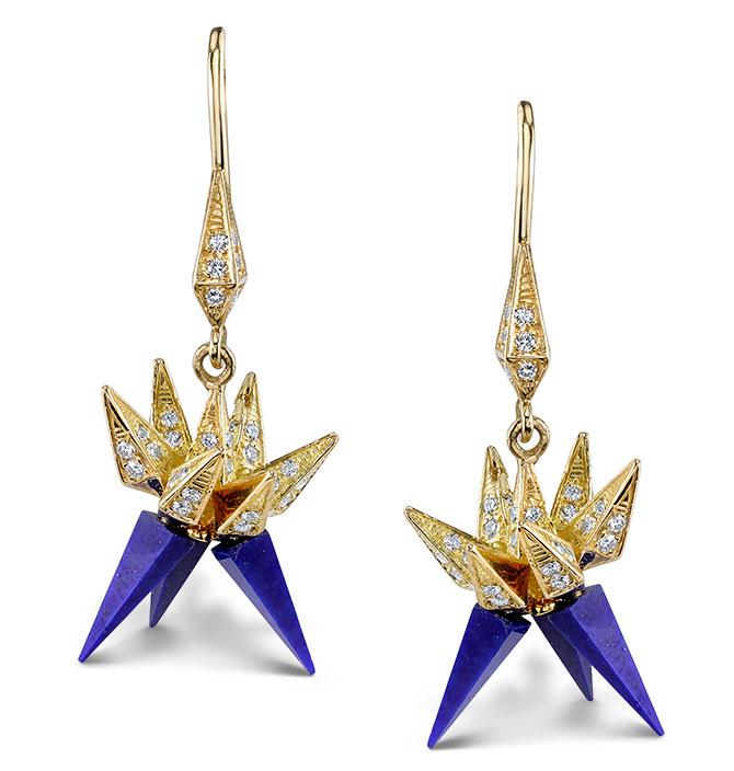 Karma el Khalil lapis hedgehog earrings