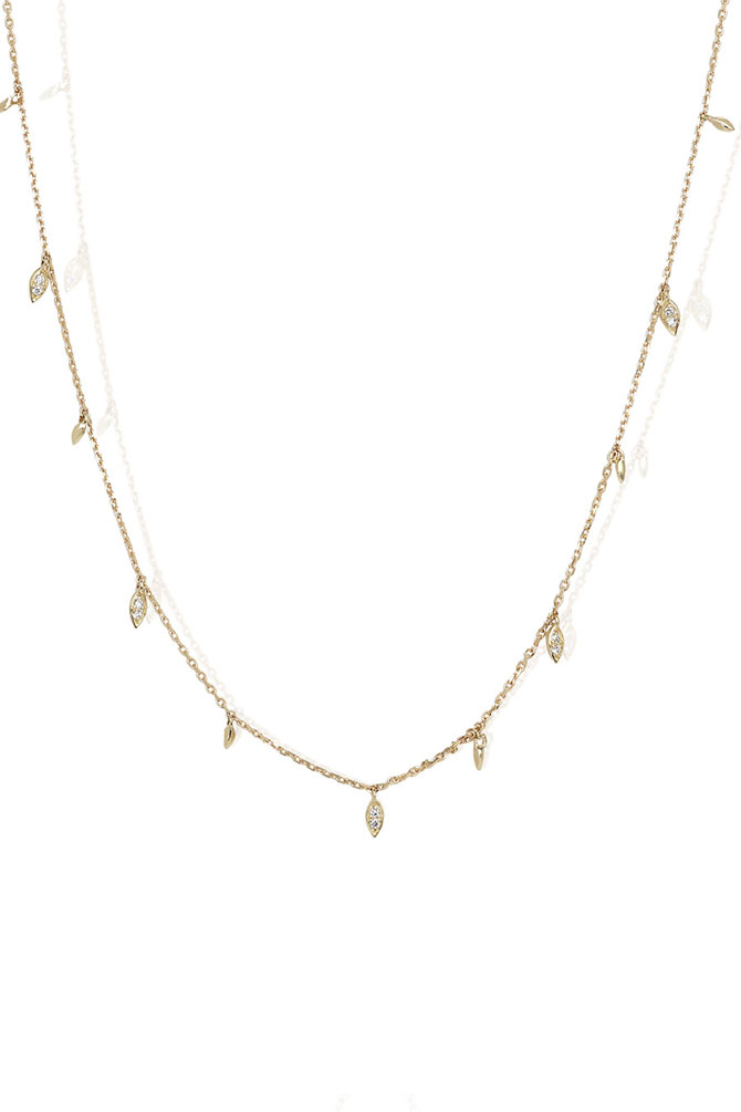 Lark & Berry Alicia Delicate Diamond Leaf Necklace 14k $1,267