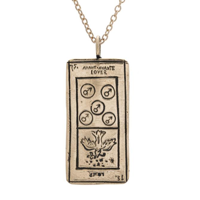 Sofia Zakia Lovers tarot card necklace