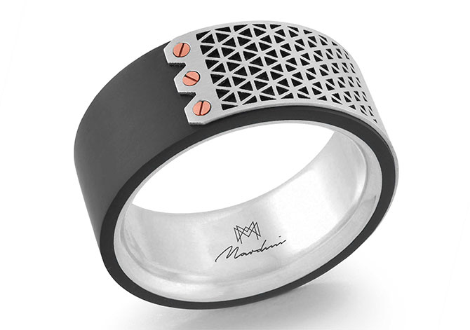 Malo Creations platinum carbon fiber band