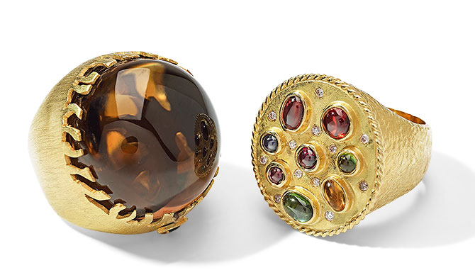 Millapani imperial topaz and multi gemstone rings