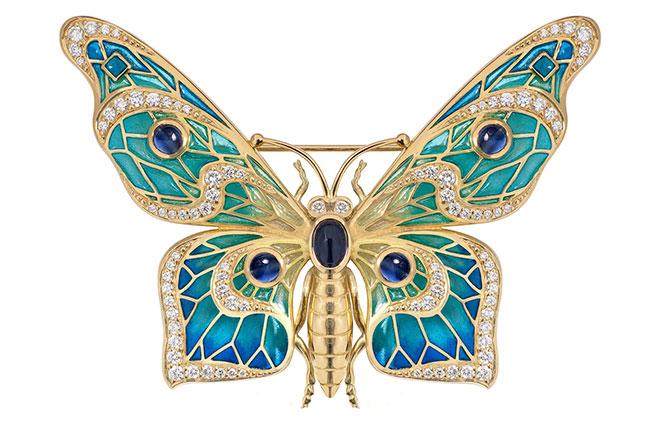 Nicole Barr enamel butterfly brooch