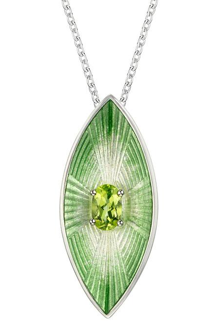 Nicole Barr green goddess silver enamel pendant