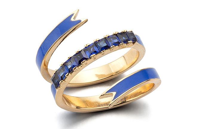 Nora Kogan enamel ribbon ring