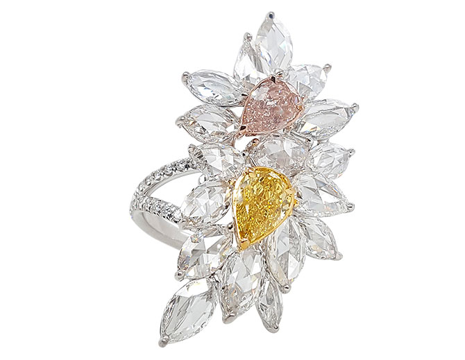 Novel Collection pink yellow diamond ring