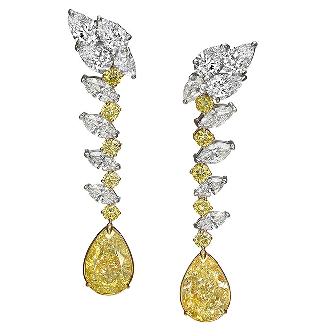Novel Collection yellow white diamond earrings