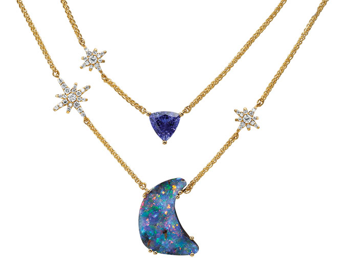 Parle starry nights boulder opal tanzanite necklace