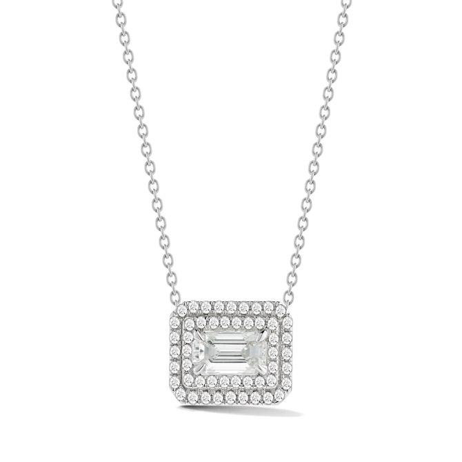 Nader Kash east west emerald diamond pendant