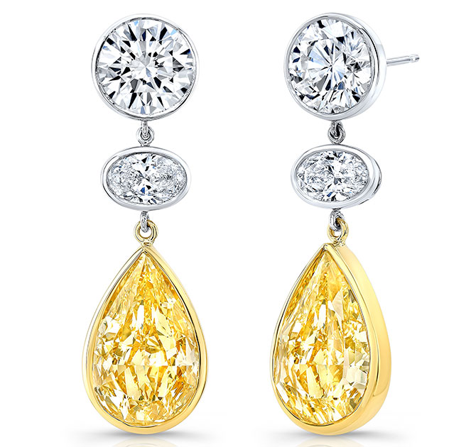 Rahaminov platinum yellow gold yellow and white diamond earrings