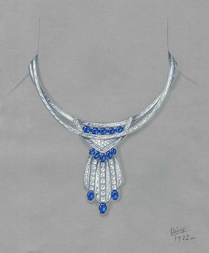 Remy Rotenier Sapphire and Diamond Modern necklace