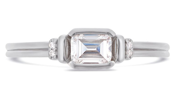 V by Laura Vann Deco emerald engagement ring
