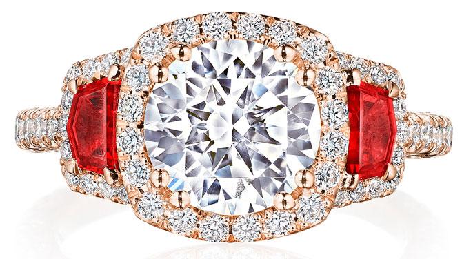 Tacori RoyalT diamond and ruby ring