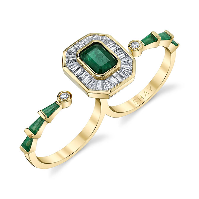 Shay emerald double finger ring