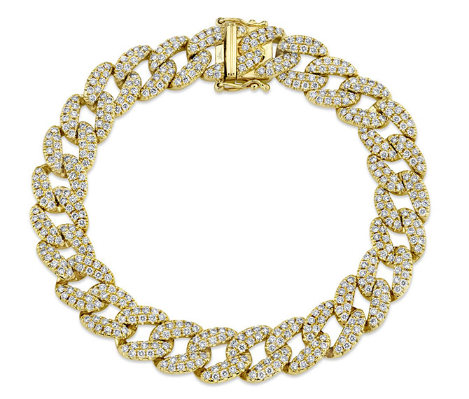 Shy Creation gold diamond Cuban link bracelet