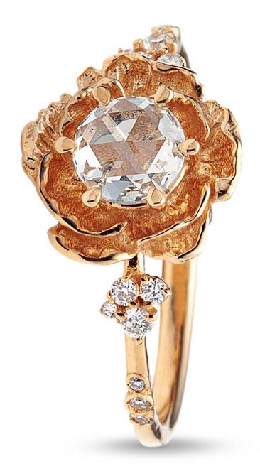 Sofia Zakia rose cut diamond paeonia ring