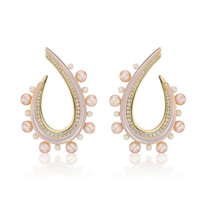 Sorellina pink opal pearl earrings
