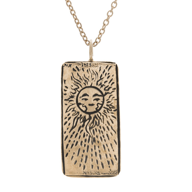 Sofia Zakia the Sun tarot card necklace