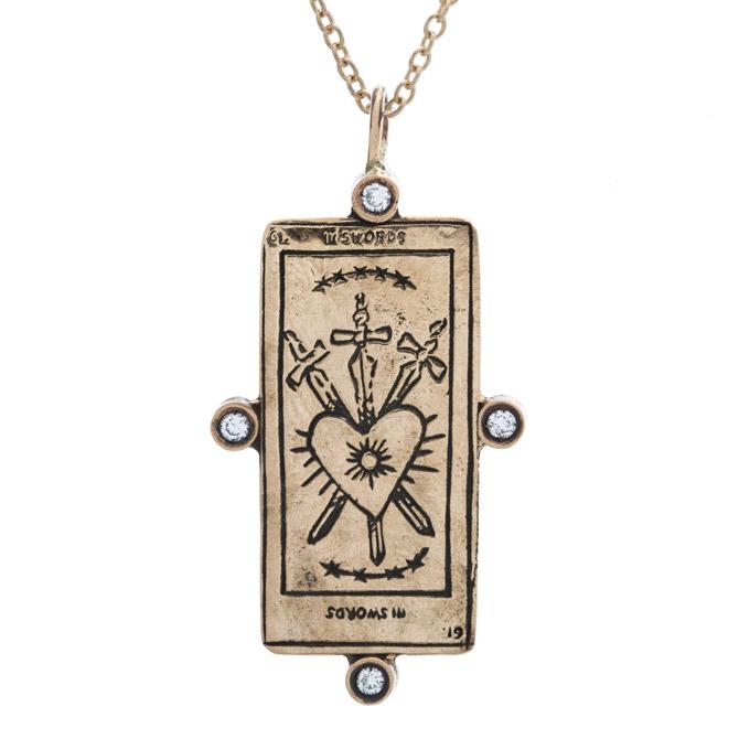 Sofia Zakia Three of Swords tarot card necklace