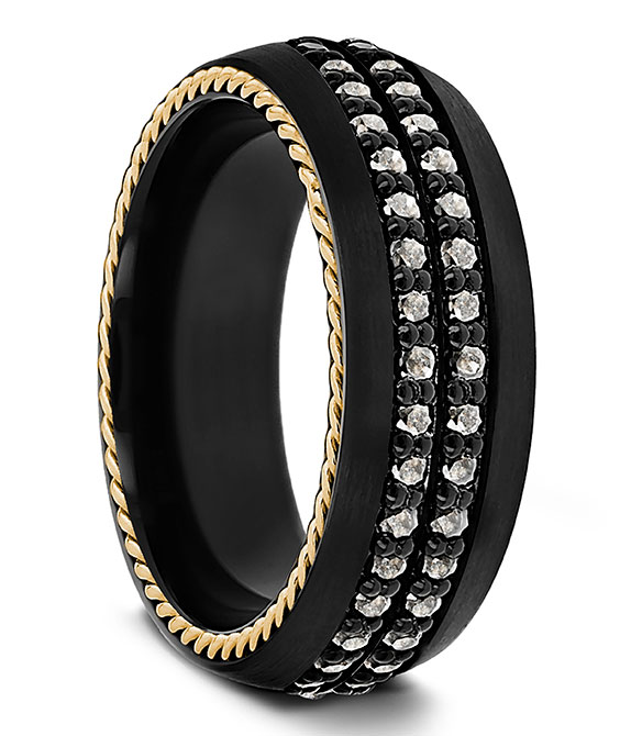 Thorsten titanium band salt and pepper diamonds