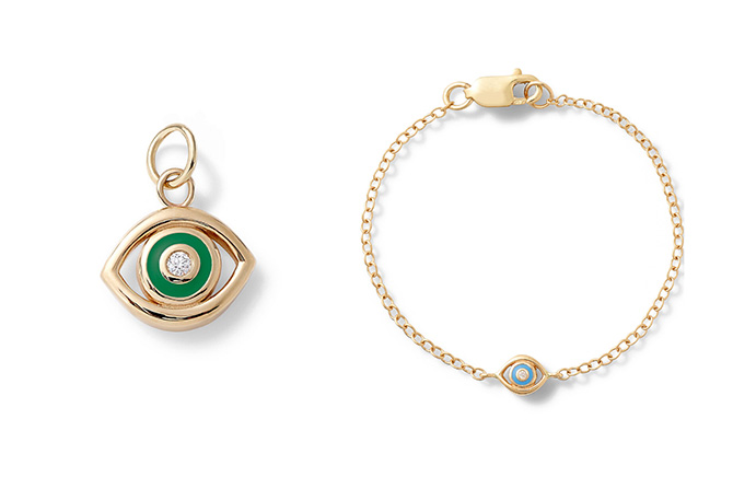 Alison Lou Evil eye charm and baby bracelet
