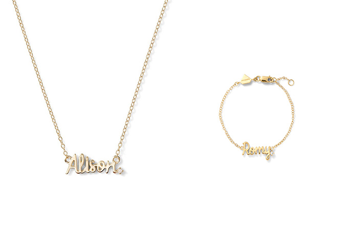 Alison Lou name necklace and bracelet
