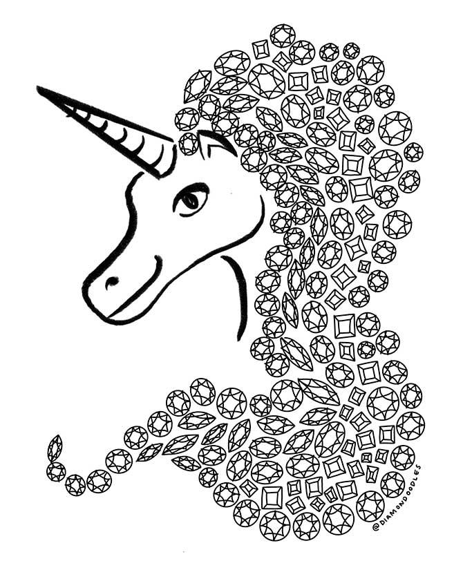 Diamondoodles Unicorn doodle