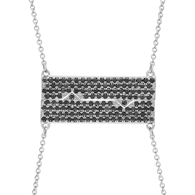 18k white gold Horizontal Friendship Plate necklaces with black diamonds—normally $6,215, now 50% off