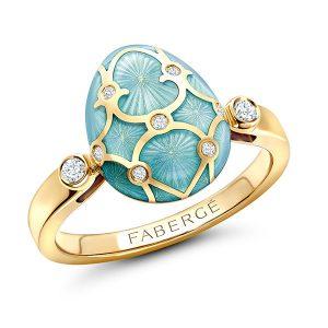 Faberge enamel blue ring