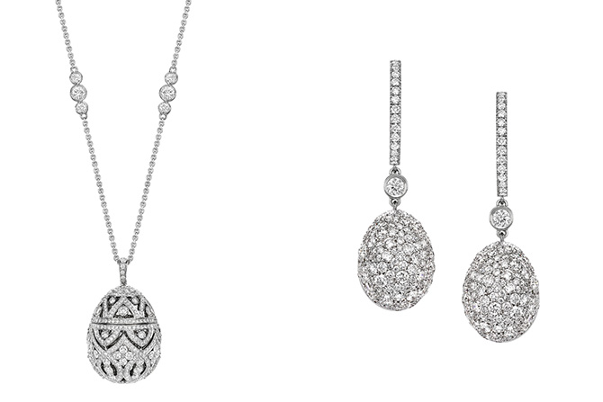Faberge white diamond and 18k white gold neklace and earrings