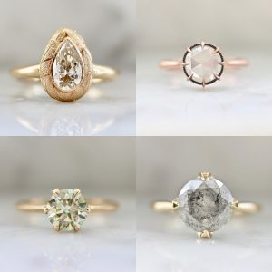 Gem Breakfast solitaire rings