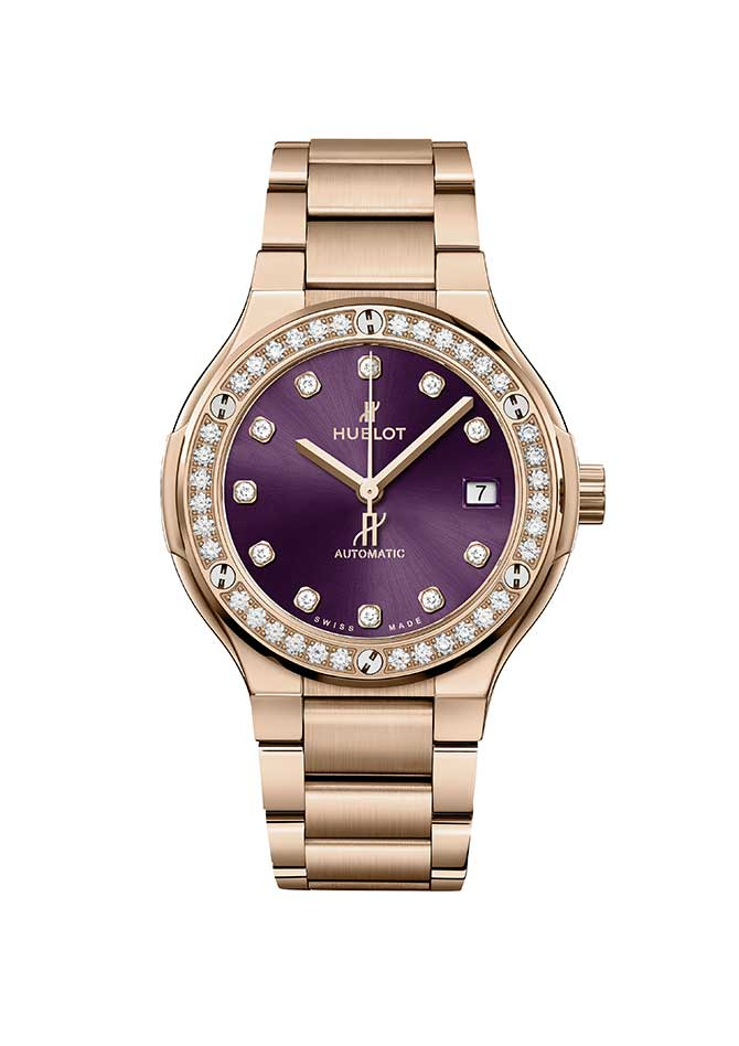 Hublot purple diamond watch
