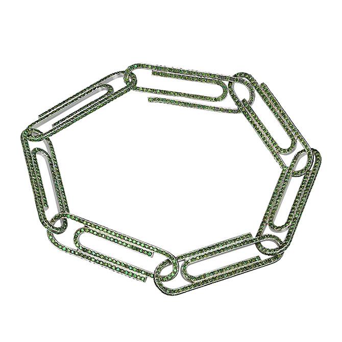 Jacob Co x Virgil green diamond paper clip bracelet