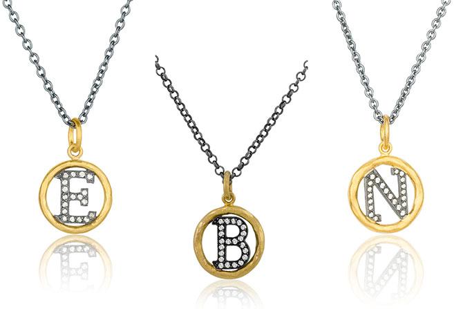 Lika Behar gold initial pendants