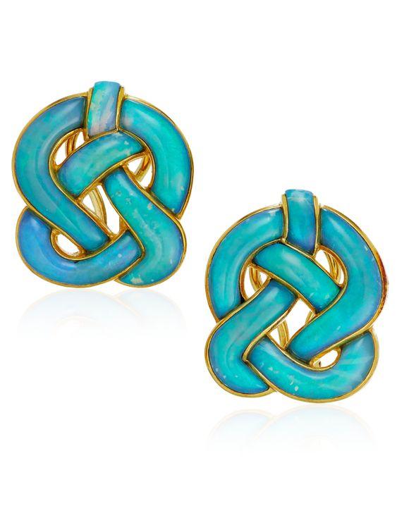 Lot 96 Tiffany opal earrings