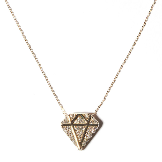 Campbell and Charlotte diamond charm necklace