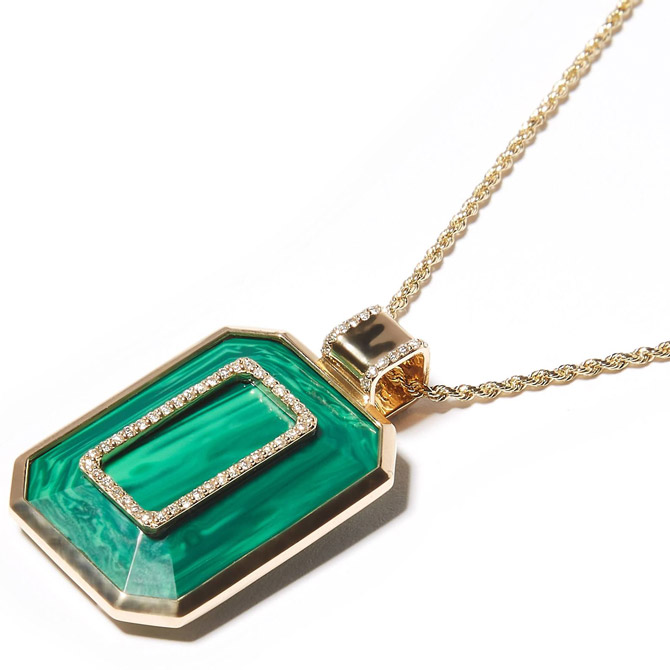 Campbell and Charlotte Found malachite necklace