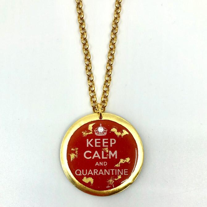 Evocateur Keep Calm and Quarantine disc pendant