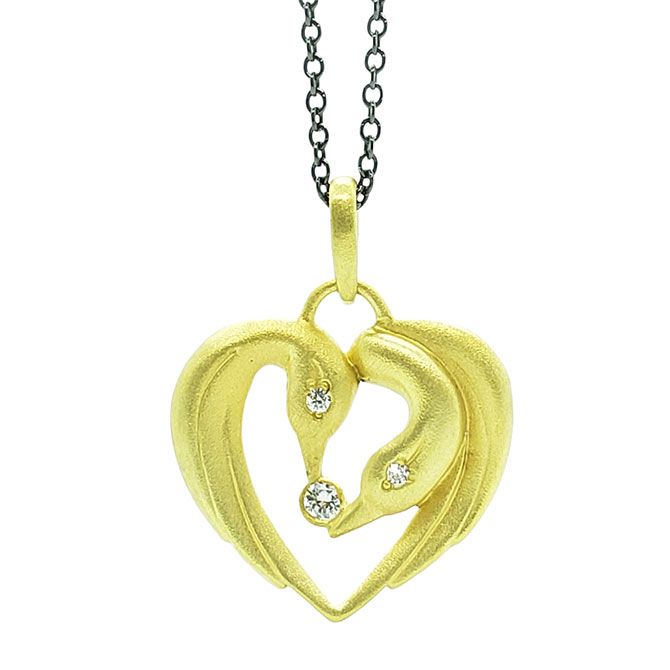Alison Nagasue swan-heart necklace