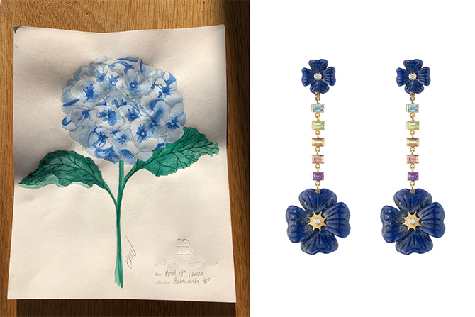 Brent Neale hydrangea painting and blue earrings