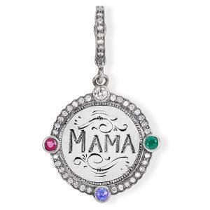 Dear Mama silver acrostic with diamonds emerald amethyst ruby