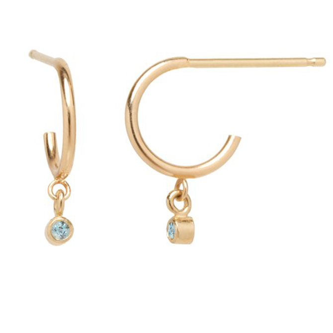 Zoe Chicco aquamarine charm huggie earrings