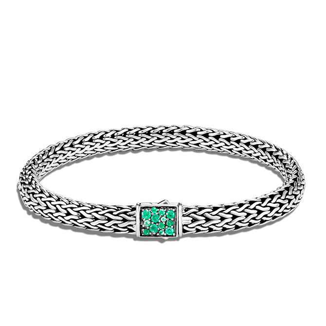 John Hardy silver and emerald bracelet