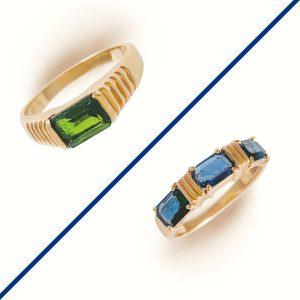 Kinn Vintage sapphire and tourmaline rings