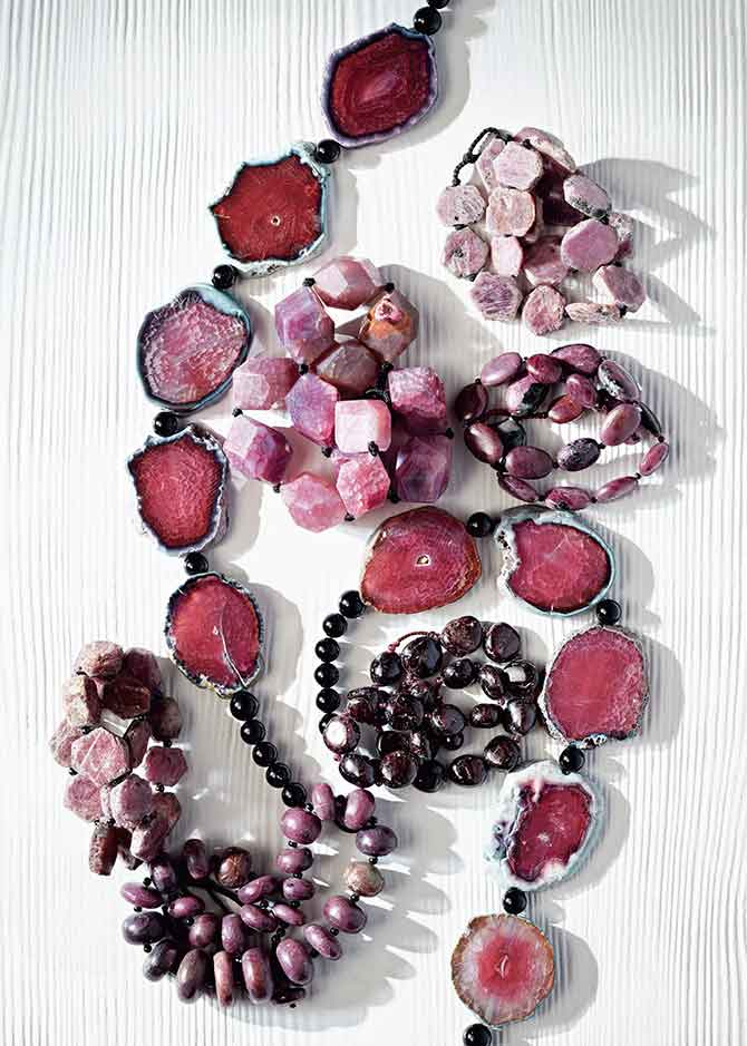 New Stone Age ruby and garnet necklaces