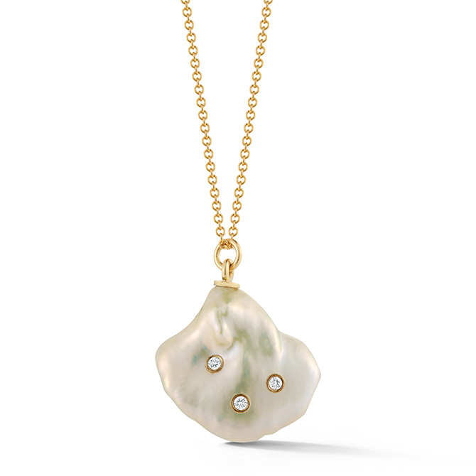 Parulina pearl and diamond necklace