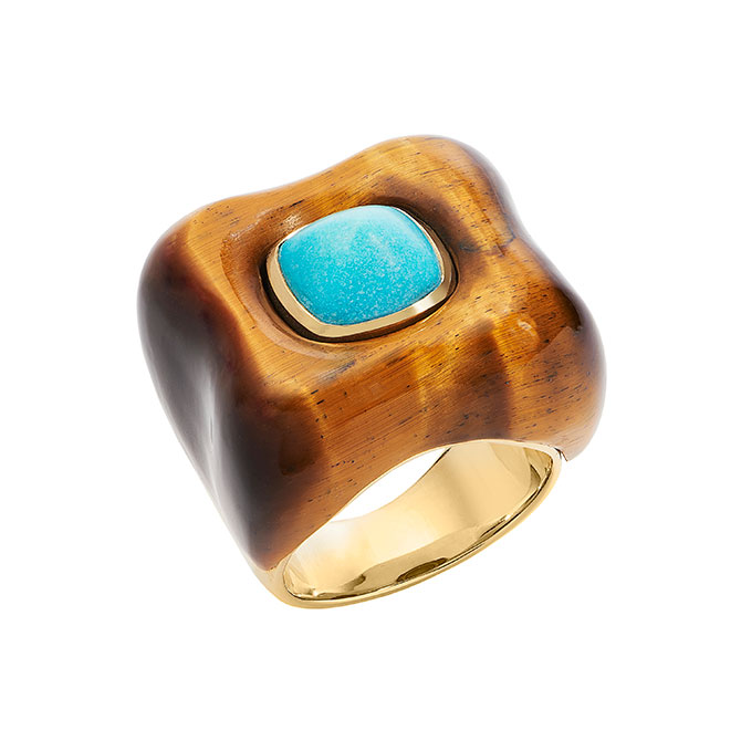 Rush Draper Ring turquoise and tigers eye