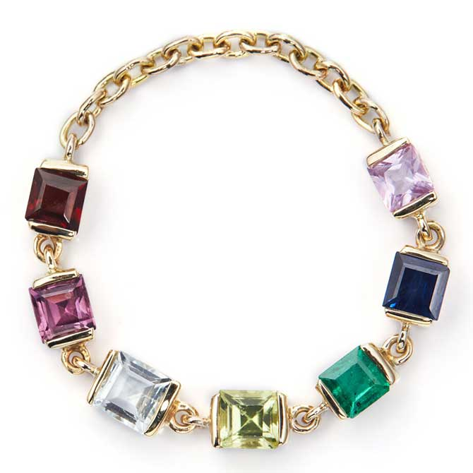 Yi SoulCycle Rainbow Stones Chain ring