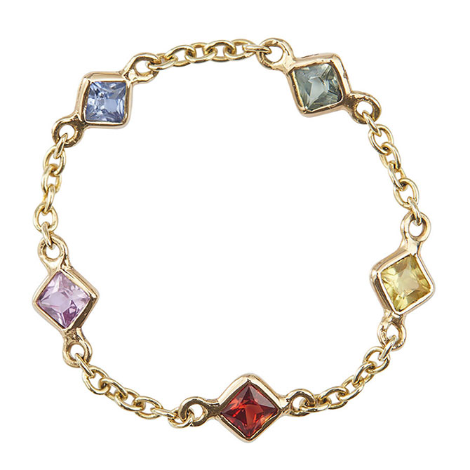 Yi SoulCycle rainbow 5 stone chain ring