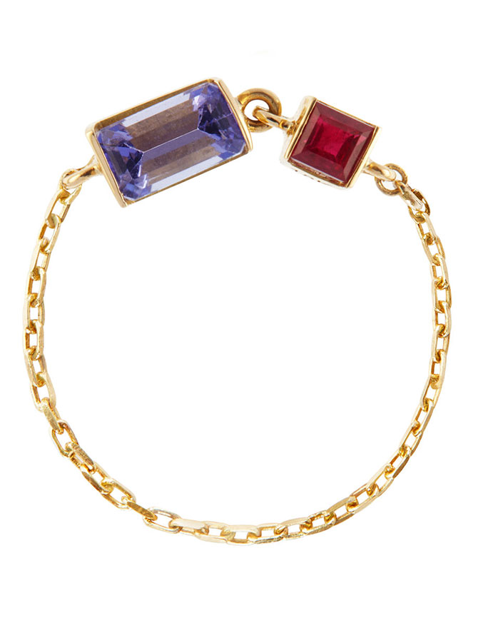 Yi SoulCycle tanzanite and ruby chain ring