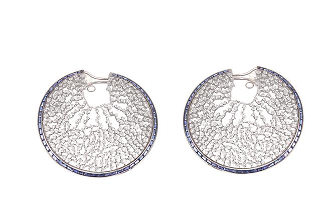 Ananya Scaatter sapphire and diamond hoops